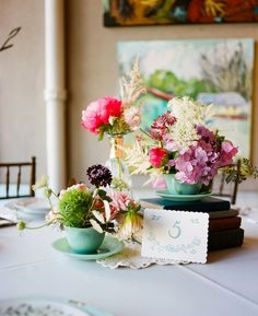 sweet floral + teacup centerpieces | 509 Photo