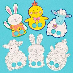 Easter finger puppets ready for you to colour in and play with.Pack of 6 assorted designs. Easter Activities, Easter Crafts For Kids, Craft Activities, Diy For Kids, Sequencing Activities, Felt Finger Puppets, Hand Puppets, Finger Puppet Patterns, Puppet Crafts