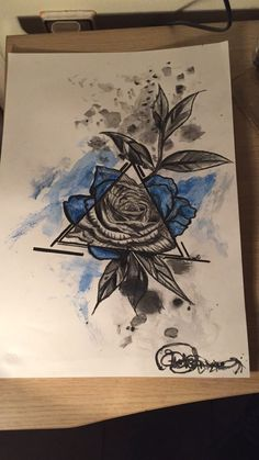 Blue rose pencil pen. Thing outside the triangle