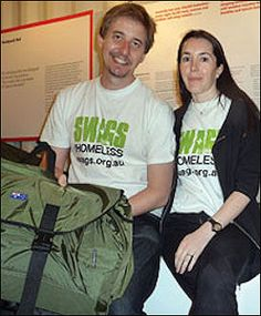 An Australian Human Rights award winner is in town to distribute free backpack beds to homeless in the city. The same backpack bed he and his wife designed.