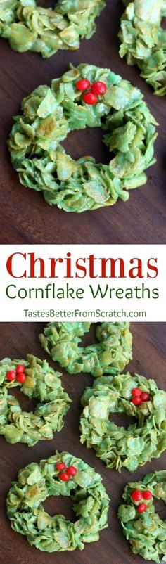 Christmas Cornflake Wreaths are one of my favorite easy Christmas treats! | Tastes Better From Scratch: (easy christmas cookies)