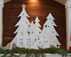 DIY Pottery Barn Kid's inspired Christmas village silhouette.