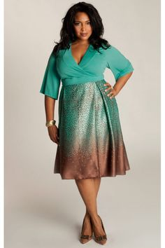 Something about this green and the brown... Julianna Plus Size Dress