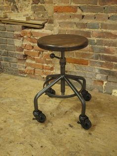 Industrial Stool Adjustable Drill Press Stool by CamposIronWorks, $185.00