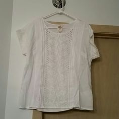 White Peasant Top Pretty, feminine white peasant tee from Anthropologie. Brand new, never worn. Brand 'One September'. Anthropologie Tops Tees - Short Sleeve