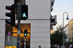 Love the green walking man in Berlin! via: Behind The Lens Lukey