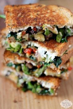 9 Gourmet Grilled Cheese Recipes That Are Totally Easy to Make Roasted Vegetable Grilled Cheese Best Vegetarian Sandwiches, Grill Cheese Sandwich Recipes, Grilled Cheese Recipes, Veggie Sandwich, Grilled Vegetables, Steak Sandwiches, Grilled Cheeses, Burger Recipes, Grilled Sandwich