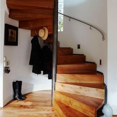 Stairs: Wooden sprial: Inpsiring Interiors: Interiors: Living: Red Online - house and flat decorations Staircase Storage, Stair Storage, Staircase Design, Loft Staircase, Spiral Staircases, Outdoor Stair Railing, Stair Makeover, Wooden Stairs, Interior Stairs