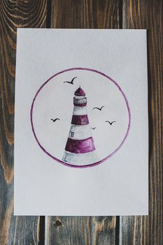 watercolor illustration of a lighthouse