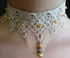 White Lace Choker Necklace Lolita with Ivory pearl beads, Bridal lace choker, Vintage Style Handmade Choker