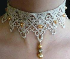 White Lace Choker Necklace Lolita with Ivory pearl beads, Bridal lace choker, Vintage Style Handmade Choker