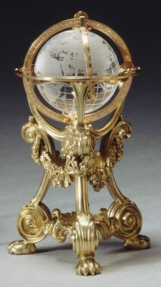 #Fabergé -- Globe -- Before 1896 -- Workmaster: Erik August Kollin -- Rock crystal, gold & silver-gilt -- Belonging to the British Royal Collection