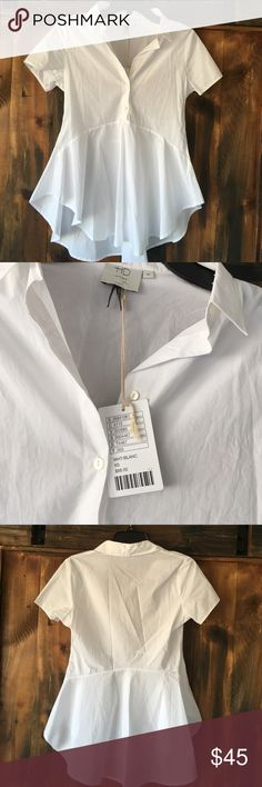 NWT anthropology white peplum blouse Absolutely gorgeous and flattering button up peplum style blouse from anthropology. Brand is HD in Paris. NWT Anthropologie Tops Blouses