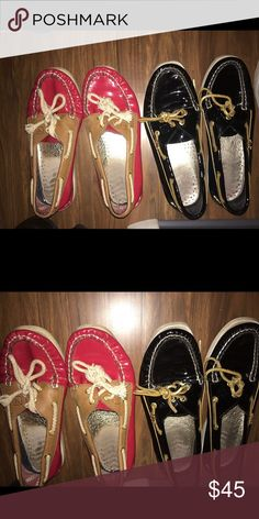 Patent Leather Sperry Top-Sider Bundle Great used condition, sperry's patent leather red and black both size 7. Can be sold together or separately 💕 everything much go so make an offer👉! Sperry Top-Sider Shoes Flats & Loafers