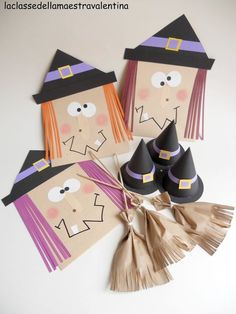 Envelope witches, paper bag broom lollipops, and witch hats