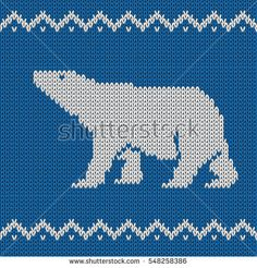 Blue knitted winter blue seamless pattern with polar bear . All elements separate and editable. Xmas Cross Stitch, Beaded Cross Stitch, Cross Stitch Patterns, Knitting Charts, Baby Knitting, Knitting Patterns, Pearl Beads Pattern, Tapestry Crochet Patterns, Winter Blue
