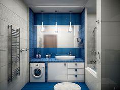Очень гармонично спланированная ванная комната в бело-синем цвете.