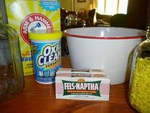 Laundry soap....look for a cool bucket and scooper.  great recipe bc it is the dry stuff.....no mixing with water in this receipe!