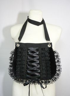 Gothic Corset Bag with Lace Ruffle Gothic Lolita by estylissimo. $38.00 USD, via Etsy.