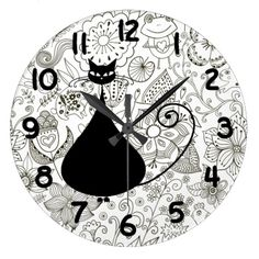 Black and White Cat in Garden Wall Clock