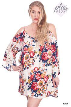 Floral Crochet Sleeve Dress - #blondellamydean #plussizefashion #plussize #curves