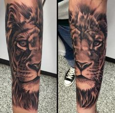 Image result for lion leg sleeve tattoo