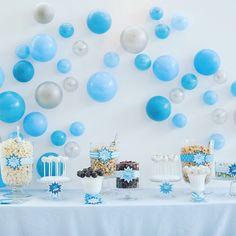 Playful bubble backdrop to a delicious candy bar (photo credit :@robinnphoto) #babyshower #mitzvah #social #corporateevents #eventdecor #event #candystation #dessert #blue #decor #celebrate #pop #popcorn #backdrop
