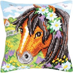 "Daisy Chain Stamped Cross Stitch Pillow Cushion Kit 16"" x 16"""