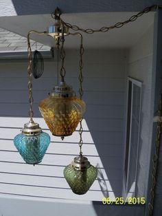 VINTAGE RETRO VINTAGE RETRO SWAG HANGING LAMP LIGHT 3 COLORED GLASS GLOBES Bedroom Decor Lights, Bedroom Lamps, Pendant Lamp, Pendant Lighting, Chandelier, Swag Light, Mid Century Modern Decor, Glass Globe, Vintage Lighting