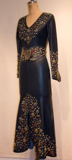 Jan Faulkner Navy Lamb skin dress with multi stone embellishments.