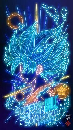 Dragon Ball the neon type fan of Kanchiyo Dragon Ball Gt, Wallpapers Wallpapers, Animes Wallpapers, Goku Y Vegeta, Son Goku, Dragonball Anime, Goku Wallpaper, Blue Anime, Super Anime