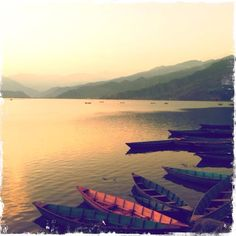 Pewa Lake, Pokhara, Nepal. Sunset in November.