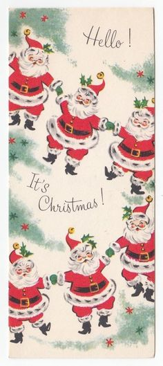 Vintage Greeting Card Christmas Santa Claus Holding Hands Mid-Century