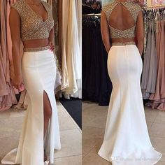 African Prom Dresses 2016 Two Pieces Deep V Neck Open Back Gold Beaded Evening…