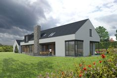 Kilcogy House is the re-imagining the traditional long house, creating a contemporary farmhouse in tune with the open landscape that surrounds it. The long house, from which the design takes reference, is prevalent in rural Co. Modern Bungalow House Design, Modern Bungalow Exterior, Dream House Exterior, Bungalow Ideas, Dormer House, Dormer Bungalow, House Designs Ireland, Bungalow Renovation, Long House