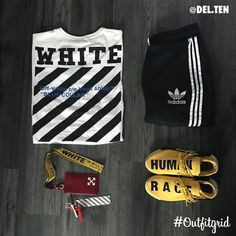Today's top #outfitgrid is by Dan Lunderville.ten. ▫️ #OffWhite #Tee ▫️ #Adidas #Pants & #Pharrell #HumanRaceNMD
