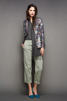 J.Crew | Fall 2015 Ready-to-Wear | 29 Multicolored embellished blazer, grey checkered top and green cropped trousers