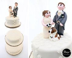 Rustic Wedding Cake with Cake toppers of the Bride, Groom and their pet dog. Cake board edged with hessian to match the rustic theme and cake decorated with. Wedding Cake Toppers, Wedding Cakes, Newquay Cornwall, White Icing, Cake Board, Rustic Theme, Hessian, Daisies, Bride Groom