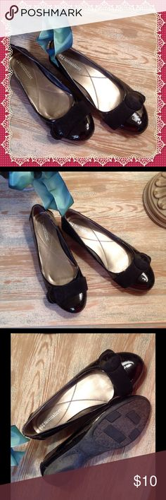 Naturalizer Patent Leather Look Flats Naturalized Patent Leather Look Flats.  Rounded toe with velvet strap and attached button.  Good Condition. Naturalizer Shoes Flats & Loafers