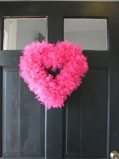 So easy and beautiful.  From cozyathome.blogspot.com/2012/01/valentine-tulle-wreath.html