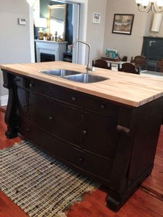 Repurposed dresser for island with a sink - Oh hell yes!  Want and want!