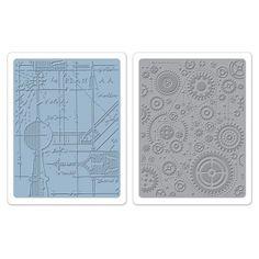 Sizzix Tim Holtz Texture Fades Embossing Folders Set: Blueprint and Gears