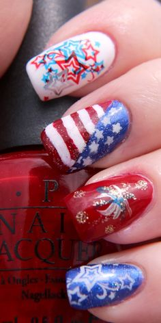 Finger Lickin' Good Fourth of July Nail Art. See more swatches at www.BeingMelody.com