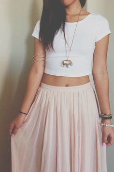 White crop top and cream skirt
