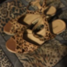 "Animal print wedges Leopard print sandal wedges. Leather wedges. Purchased these at Dillard's. 2 1/2"" wedges Preview Shoes Wedges"