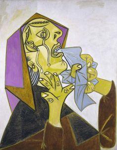 "Pablo Picasso, La mujer que llora, 1992."" Pintura grotesca que experimenta lo escalofriante e incomprensible"""