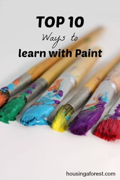 Top 10 Ways to Learn with Paint. {Great idea for Summer Art Camp at home with kids! Painting For Kids, Art For Kids, Crafts For Kids, Arts And Crafts, Kid Art, Pour Painting, Painting Art, Art Activities For Kids, Preschool Art