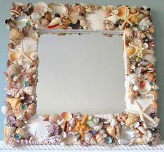 $285.00 Beach Decor Shell Mirror #beachdecor, #beach, #coastal, #nautical, #shell, #seashell, #mirror, #shellmirror, #seashellmirror