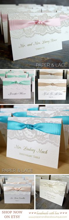 Lace Escort Cards / Place Cards for Wedding Reception by PAPER & LACE - Custom Colors - Lace Stationery - Lace Weddings (sweet ideas wedding) Gold Wedding Invitations, Rustic Invitations, Wedding Stationary, Rustic Wedding, Wedding Reception, Wedding White, White Bridal, Trendy Wedding, Seating Cards