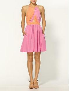 Gem Geo Print Silk Halter Dress